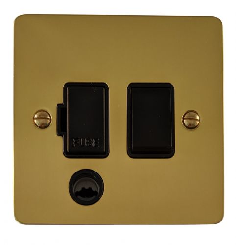 G&H FB56B Flat Plate Polished Brass 1 Gang Fused Spur 13A Switched & Flex Outlet